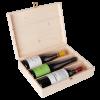 Кутия за 3 бутилки вино със закопчалка, натурална
