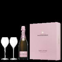 Шампанско Луи Рьодерер Брут Розе Винтидж, 0.75 л + 2 чаши, кутия