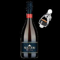 Комплект Просеко Руджери Валдобиадене Супериоре ди Картице Брут DOCG, 0.75 л  + ПОДАРЪК 1 бр. Стопер за пенливо вино Руджери, 1 бр.