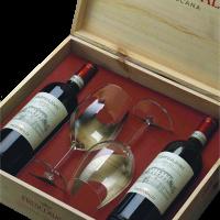 Комплект 2 бут. Кастилиони Кианти DOCG, 0.75 л + 2 чаши, дървена кутия