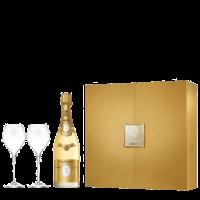 Шампанско Кристал Брут в кутия, 0.75 л + 2 чаши, лукс кутия