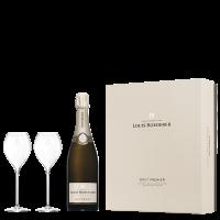 Шампанско Луи Рьодерер Брут, 0.75 л + 2 чаши, кутия