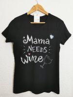 Дамска Тениска черна mama needs wine, 1 бр.