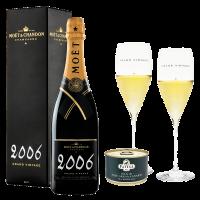 Шампанско Моет Гранд Винтидж 2006 в кутия, 0.75 л + Патеса 1991 Пастет от Дроб патица 160 гр., 1 бр. + Подарък 2 чаши Riedel