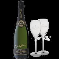 Шампанско Драпие Сигничър Блан де Блан Брут NV, 0.75 л + 2 чаши ПОДАРЪК