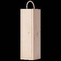 Кутия за вино 1 бутилка с плъзгащ капак, натурална голяма, 1 бр.