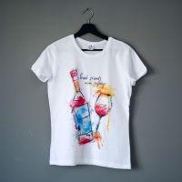 Дамска Тениска бяла Good friends wine together, 1 бр.