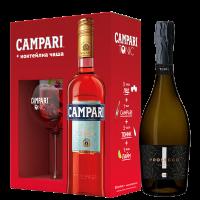 Комплект Ликьор Кампари Битер + Коктейлна чаша, 0.7 л + Просеко Тини Екстра Драй Спуманте, 0.75 л