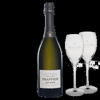 Комплект 1 бут. Шампанско Драпие Брут Натюр Зеро Дозаж NV, 0.75 л + 2 броя Чаша за Шампанско Драпие Опал 160 мл