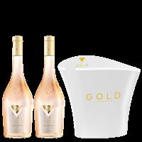 Комплект от 2 бутилки Голд Розе Кот дьо Прованс 2020, 0.75 л + ПОДАРЪК 1 бр Охладител GOLD ROSE, Прованс, 1 бр.