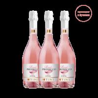 Комплект 3 бутилки Просеко Тини Розе Екстра Драй Спуманте, 0.75 л